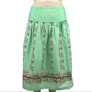 J. Crew Mint Green vintage floral print skirt